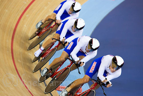 03 AUG 2012 - LONDON, GBR - The men's team from Russia (RUS) race against The Netherlands during their Team Pursuit first round race at the London 2012 Olympic Games in the Olympic Park Velodrome in Stratford, London, Great Britain .(PHOTO (C) 2012 NIGEL FARROW)