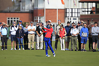 Akshay Bhatia (USA) on the 1st during Day 2 Singles at the Walker Cup, Royal Liverpool Golf CLub, Hoylake, Cheshire, England. 08/09/2019.<br /> Picture Thos Caffrey / Golffile.ie<br /> <br /> All photo usage must carry mandatory copyright credit (© Golffile | Thos Caffrey)