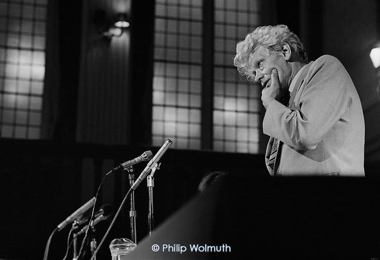 E.P.Thompson, historian, writer, socialist and peace campaigner.  European Nuclear Disarmament meeting, Caxton Hall, London.