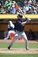 OAKLAND, CA - JULY 19:  Shane Peterson #2 of the Tampa Bay Rays bats against the Oakland Athletics during the game at the Oakland Coliseum on Wednesday, July 19, 2017 in Oakland, California. (Photo by Brad Mangin)