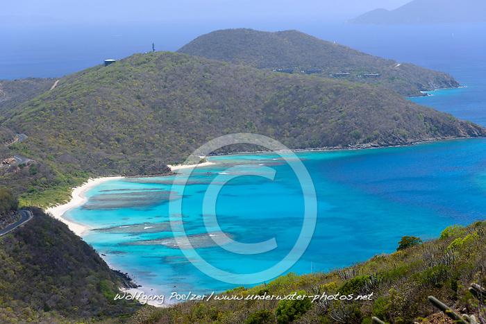 Huegellandschaft von Insel Virgin Gorda, Hill Landscape of Virgin Gorda Island, Britische Jungferninsel, Karibik, Karibisches Meer, British Virgin Islands, BVI, Caribbean Sea