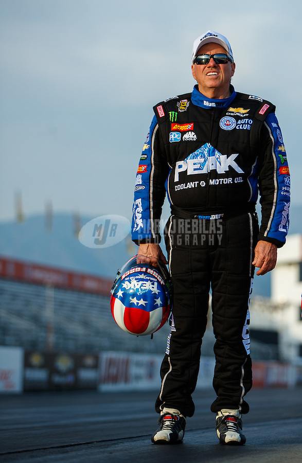 Feb 8, 2017; Pomona, CA, USA; NHRA funny car driver John Force during media day at Auto Club Raceway at Pomona. Mandatory Credit: Mark J. Rebilas-USA TODAY Sports