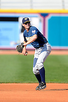 Trenton Thunder second baseman Casey Stevenson #31 during practice before a game against the Akron Aeros on April 22, 2013 at Canal Park in Akron, Ohio.  Trenton defeated Akron 13-8.  (Mike Janes/Four Seam Images)