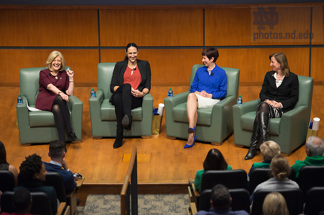 Oct. 17, 2015; Panel discussion Lessons in Leadership featuring, Muffet McGraw, Ruth Riley, Deloitte CEO Cathy Engelbert and Anne Thompson as moderator in in Jordan Auditorium.  (Photo by Barbara Johnston/University of Notre Dame)