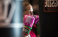 NWA Democrat-Gazette/CHARLIE KAIJO Michelle Wilkins of Fayetteville works on boxing fundamentals during a boxing class, Monday, June 11, 2018 at  Straightright Boxing and Fitness in Springdale.<br />