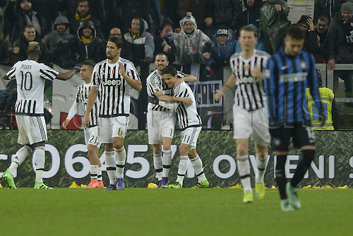 28.02.2016. Juventus Stadium, Turin, Italy. Serie A Football. Juventus versus Inter Milan. Penalty kick goal celebrations by Alvaro Morata (Juve) for 2-0