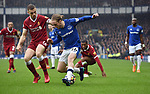 Tom Davies of Everton is challenged by Jordan Henderson of Liverpool during the premier league match at Goodison Park Stadium, Liverpool. Picture date 7th April 2018. Picture credit should read: Robin Parker/Sportimage