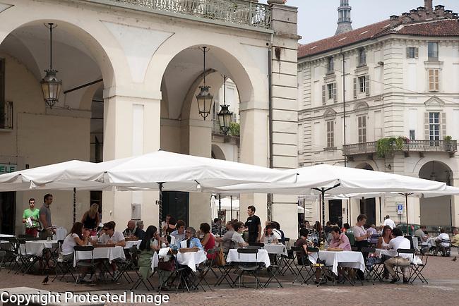 Cafes in Piazza Vittorio Veneto Square in Turin - Torino, Italy
