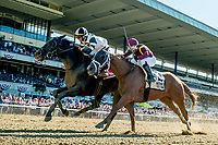 ELMONT, NY - JULY 09: Limousine Liberal #1, ridden by Jose Ortiz, outduels Whitmore #2, ridden by Ricardo Santana, Jr., to win the  Belmont Sprint Championship during the Stars and Stripes Racing Festival  at Belmont Park on July 7, 2018 in Elmont, New York. (Photo by Scott Serio/Eclipse Sportswire/Getty Images)