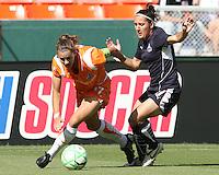 Lisa De Vanna #17 of Washington Freedom battles Keeley Dowling #17 of Sky Blue FC during a WPS match at RFK Stadium on May 23, 2009 in Washington D.C.