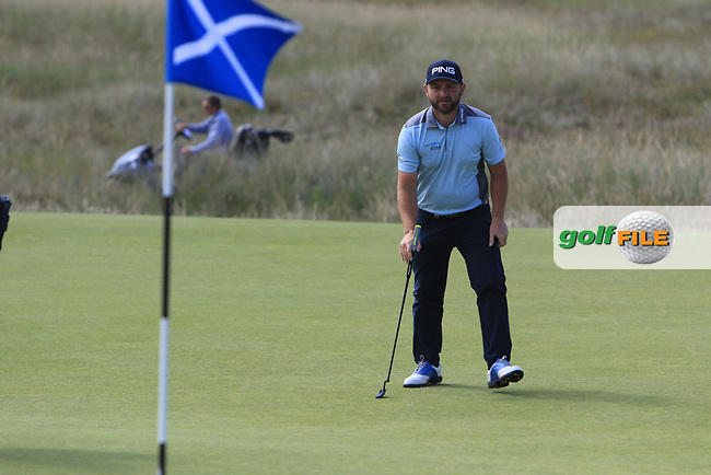 Andy Sullivan (ENG) on the 3rd during Round 4 of the Aberdeen Standard Investments Scottish Open 2019 at The Renaissance Club, North Berwick, Scotland on Sunday 14th July 2019.<br /> Picture:  Thos Caffrey / Golffile<br /> <br /> All photos usage must carry mandatory copyright credit (© Golffile | Thos Caffrey)