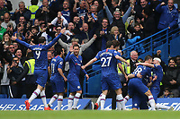 Chelsea players congratulate David Luiz after scoring their second goal during Chelsea vs Watford, Premier League Football at Stamford Bridge on 5th May 2019