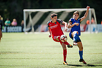Seattle, WA - Saturday, August 26th, 2017: Christine Sinclair and Madeline Bauer during a regular season National Women's Soccer League (NWSL) match between the Seattle Reign FC and the Portland Thorns FC at Memorial Stadium.
