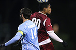 25 November 2012: FDU's Nico Wright (JAM) (20) and UNC's Jordan Gafa (14). The University of North Carolina Tar Heels played the Farleigh Dickinson Knights at Fetzer Field in Chapel Hill, North Carolina in a 2012 NCAA Division I Men's Soccer Tournament third round game. UNC won the game 1-0 in overtime.