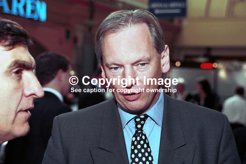 Francis Maude, MP, Minister, Conservative Party, Britain, UK, 199710172, Annual Conference, Winter Garden, Blackpool.<br /> <br /> Copyright Image from Victor Patterson,<br /> 54 Dorchester Park, <br /> Belfast, UK, BT9 <br /> <br /> t1: +44 28 9066 1296 (from Rep of Ireland 048 90661296)<br /> t2: +44 28 9002 2446 (from Rep of Ireland 048 9002 2446)<br /> <br /> m: +44 7802 353836<br /> <br /> e: victorpatterson@me.com<br /> www.victorpatterson.com<br /> <br /> Please see my Terms and Conditions of Use at www.victorpatterson.com. It is IMPORTANT that you familiarise yourself with them.<br /> <br /> Images used on the Internet must be visibly watermarked i.e. &copy; Victor Patterson<br /> within the body of the image and copyright metadata must not be deleted. Images <br /> used on the Internet have a size restriction of 4kbs and will be chargeable at current<br />  NUJ rates unless agreed otherwise.<br /> <br /> This image is only available for the use of the download recipient i.e. television station, newspaper, magazine, book publisher, etc, and must not be passed on to any third <br /> party. It is also downloaded on condition that each and every usage is notified within 7 days to victorpatterson@me.com<br /> <br /> The right of Victor Patterson to be identified as the author is asserted in accordance with The Copyright Designs And Patents Act (1988). All moral rights are asserted.