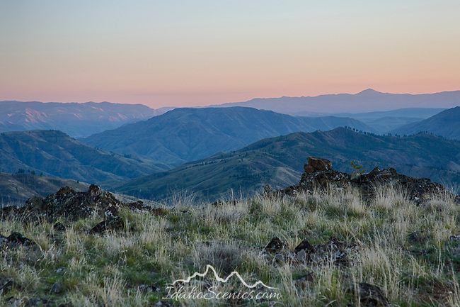 Idaho, Southwest, Cambridge, Hells Canyon National Recreation Area. A ridgetop view at the southern end of the Hells Canyon Recreation Area at dawn in spring.