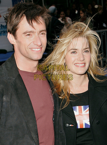 "HUGH JACKMAN & KATE WINSLET .""Flushed Away"" New York Premiere held at AMC Lincoln Square, New York, New York, USA..October 24th, 2006.Ref: ADM/JL.headshot portrait messy hair windy.www.capitalpictures.com.sales@capitalpictures.com.©Jackson Lee/AdMedia/Capital Pictures."