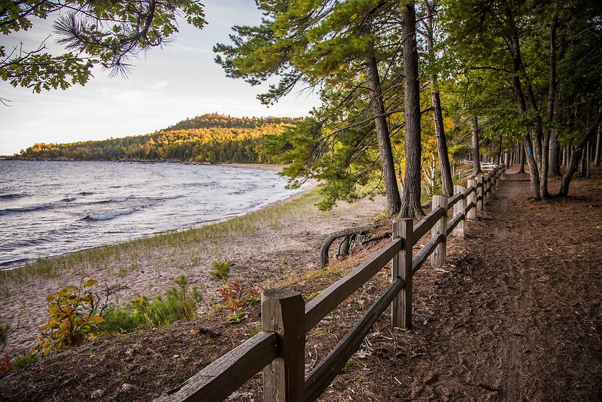 Fall color at Wetmore Landing a Lake Superior beach near Marquette, Michigan.