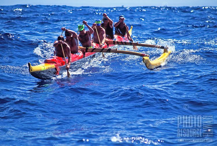 Outrigger canoe race, men's offshore