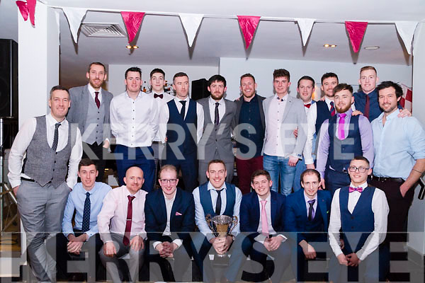 The Cromane GAA Senior Football Team pictured following the presentation of medals for winning 2017 County Novice at the Club's Annual Social in Jacks' Restaurant in Cromane.