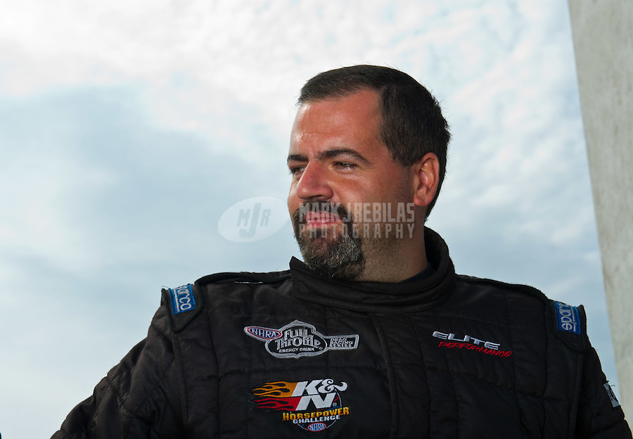 Sept. 4, 2011; Claremont, IN, USA: NHRA pro stock driver Chris McGaha during qualifying for the US Nationals at Lucas Oil Raceway. Mandatory Credit: Mark J. Rebilas-