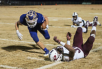 NWA Democrat-Gazette/BEN GOFF @NWABENGOFF<br /> Andrew Robertson (2) of Booneville breaks the tackle of Derrium Thompson (32), Prescott defender, on a run in the fourth quarter Saturday, Dec. 1, 2018, during the class 3A state semifinal game at Bearcat Stadium in Booneville.