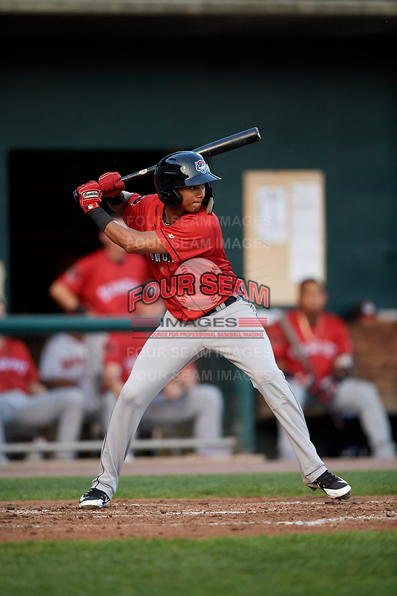 Erie SeaWolves shortstop Sergio Alcantara (1) at bat during a game against the Harrisburg Senators on August 29, 2018 at FNB Field in Harrisburg, Pennsylvania.  Harrisburg defeated Erie 5-4.  (Mike Janes/Four Seam Images)