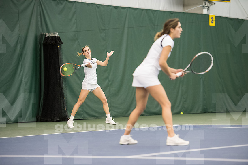 The University of Michigan women's tennis team defeats Texas, 6-1, at Varsity Tennis Center in Ann Arbor, MI on Feb 5, 2017.
