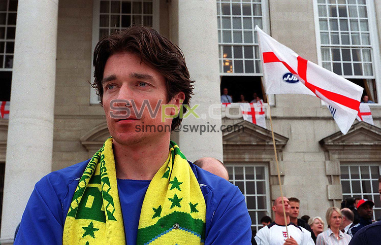 Pix: Ben Duffy/SWpix.com. Soccer, World Cup. England v Brazil. 21/06/2002..COPYWRIGHT PICTURE>>SIMON WILKINSON>>01943 436649>>..Futebol de Salao, Simon Clifford watches the game in Millenium Square outside the Civic Centre in Leeds