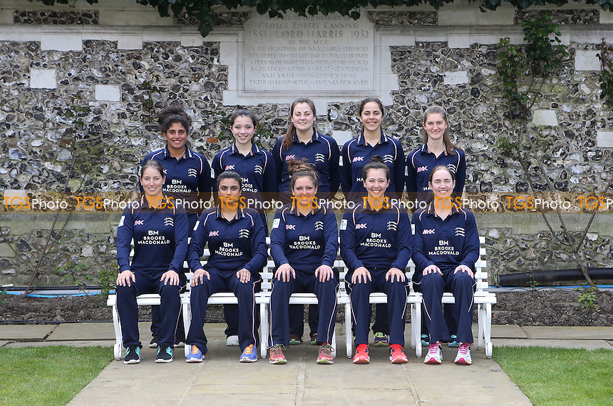 Middlesex Women Team Photo Back Row:- L-R Naomi Dattani, Millie Pope, India Whitty, Maia Bouchier, Anna Nicholls Front Row: L-R Holly Huddleston (Ocerseas), Ria Raval, Isabelle Westbury (Captain), Natasha Miles, Beth Morgan during the Middlesex CCC Press Day at Lord's Cricket Ground on 8th April 2016