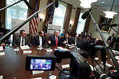 United States President Donald J. Trump speaks during a Cabinet Meeting at the White House in Washington, DC on October 21, 2019. <br /> Credit: Yuri Gripas / Pool via CNP
