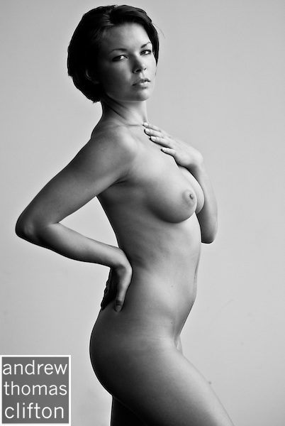 Nude Woman Model from the Side in Studio Session