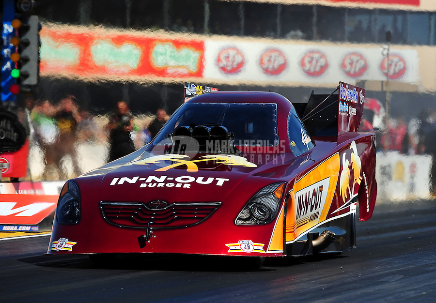 Jul. 29, 2011; Sonoma, CA, USA; NHRA funny car driver Melanie Troxel during qualifying for the Fram Autolite Nationals at Infineon Raceway. Mandatory Credit: Mark J. Rebilas-