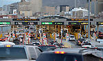 Vehicles wait to cross through U.S. border checkpoints as they enter El Paso, Texas, from Juarez, Mexico.