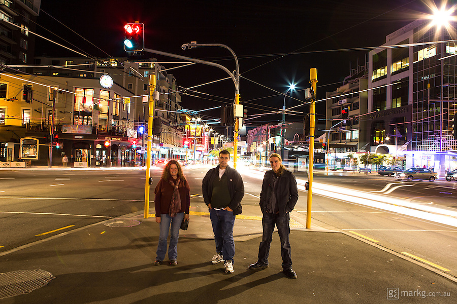 1st stop as part of the International Dark Sky Week photo project at Courtenay Place. Left to right - Leanne, Chris, and James ready to observe the effects of light pollution on Wellington night skies.
