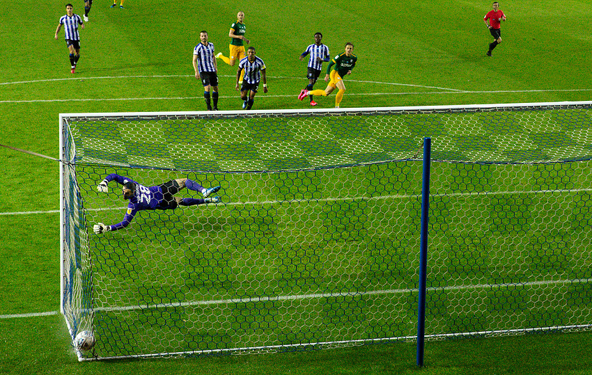 Preston North End's Brad Potts scores his side's third goal <br /> <br /> Photographer Alex Dodd/CameraSport<br /> <br /> The EFL Sky Bet Championship - Sheffield Wednesday v Preston North End - Wednesday 8th July 2020 - Hillsborough - Sheffield<br /> <br /> World Copyright © 2020 CameraSport. All rights reserved. 43 Linden Ave. Countesthorpe. Leicester. England. LE8 5PG - Tel: +44 (0) 116 277 4147 - admin@camerasport.com - www.camerasport.com