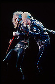 JUDAS PRIEST - KK Downing and Rob Halford - performing live on the Mercenaries of Metal Tour at the Odeon Hammersmith in London UK - 13 Jun 1988.  Photo credit: George Bodnar Archive/IconicPix