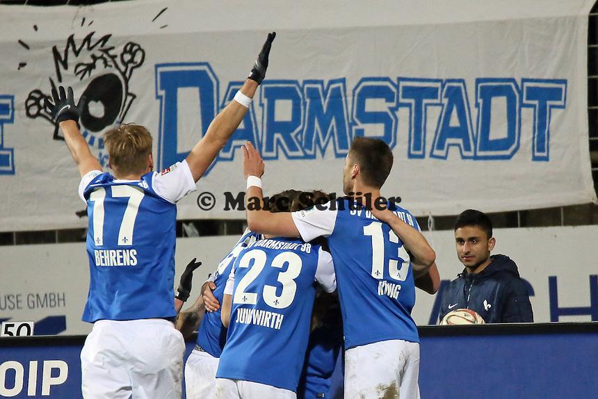 Milan Ivana (SV98) erzielt das 3:0 und jubelt - SV Darmstadt 98 vs. 1. FC Union Berlin, Stadion am Boellenfalltor