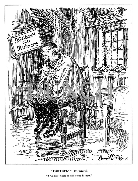 """""""Fortress"""" Europe. """"I wonder where it will come in next."""" (Hitler sits on a chair under a leaky roof as his 'Wehrmacht or Demise' notice is lopsided and a map showing Frankreich sits on a table after the Allied invasion of Europe)"""