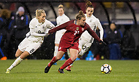 Columbus, Ohio - Thursday March 01, 2018: Lena Goeßling, Savannah McCaskill during a 2018 SheBelieves Cup match between the women's national teams of the United States (USA) and Germany (GER) at MAPFRE Stadium.