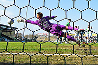 The shot from Randell Williams of Wycombe Wanderers beats Yeovil Town keeper Johnny Maddison for the first and only goalduring Yeovil Town vs Wycombe Wanderers, Sky Bet EFL League 2 Football at Huish Park on 14th April 2018 for the first goal
