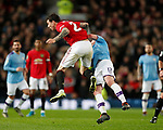 Victor Lindelof of Manchester United clashes with Kevin De Bruyne of Manchester City during the Carabao Cup match at Old Trafford, Manchester. Picture date: 7th January 2020. Picture credit should read: Darren Staples/Sportimage