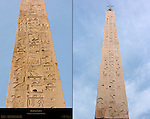 Lateran Obelisk Tuthmosis III 1430 BC Sunset Piazza di San Giovanni in Laterano Flaminio Obelisk Ramesses II 1250 BC Piazza del Popolo detail of Hieroglyphics Rome