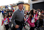 "People run in Ablitas on March 26, 2015, Basque Country. The ""19th Korrika"" is a relay of hand to hand baton passing without interruption over 11 days and 10 nights crossing many Basque villages and cities, totalling some 2300 kilometres in a bid to promote the basque language.The ""Korrika"" this year end in Bilbao on March 29. (Ander Gillenea / Bostok Photo)"