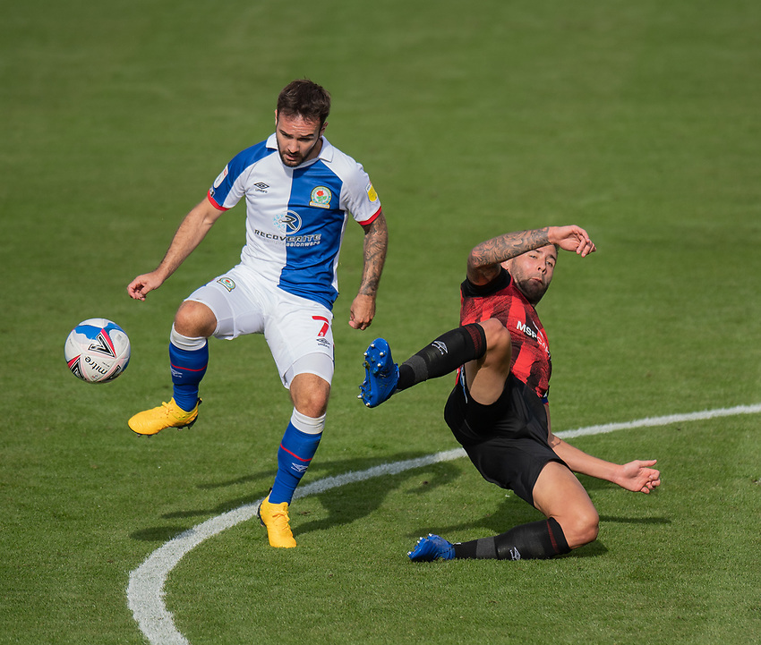 Blackburn Rovers' Adam Armstrong (left) holds off the challenge from Bournemouth's Lewis Cook (right) <br /> <br /> Photographer David Horton/CameraSport <br /> <br /> The EFL Sky Bet Championship - Bournemouth v Blackburn Rovers - Saturday September 12th 2020 - Vitality Stadium - Bournemouth<br /> <br /> World Copyright © 2020 CameraSport. All rights reserved. 43 Linden Ave. Countesthorpe. Leicester. England. LE8 5PG - Tel: +44 (0) 116 277 4147 - admin@camerasport.com - www.camerasport.com