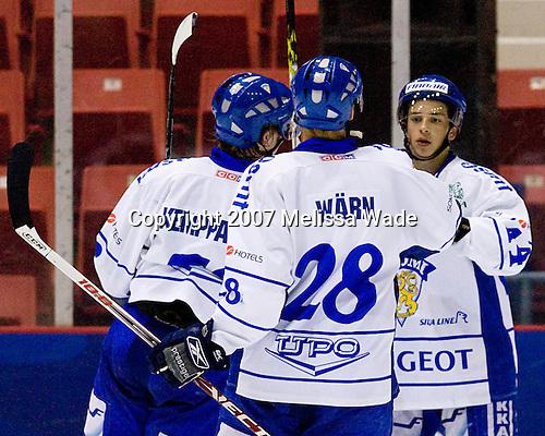 Joonas Kemppainen (Finland/Pori Assat - Finland), Max Warn (Finland/Helsinki HIFK - Finland), Sakari Salminen (Finland/Pori Assat - Finland) - USA Team Blue defeated Team Finland 4-1 on Friday, August 10, 2007, at the 1980 Rink at Lake Placid, New York during the Summer Hockey Challenge.