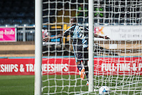 Anthony Stewart of Wycombe Wanderers turns to celebrate putting his team 1-0 in front during the Sky Bet League 2 match between Wycombe Wanderers and York City at Adams Park, High Wycombe, England on 8 August 2015. Photo by Andy Rowland.