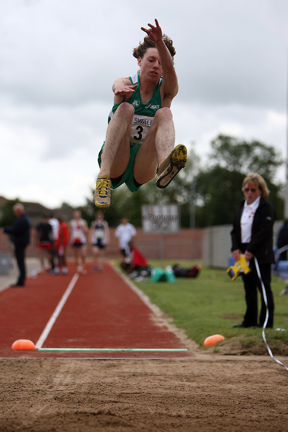 Photo: Rich Eaton...Schools International Athletic Board, Track & Field International Match, Newport. 21/07/2007. Nathan Reid of Ireland competes in the boys high jump.