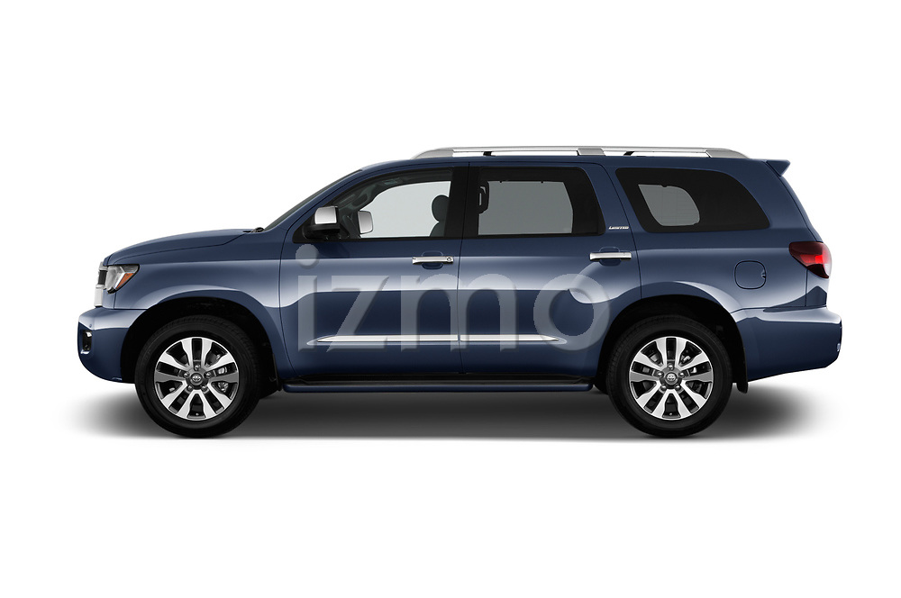 Car driver side profile view of a 2018 Toyota Sequoia Limited Auto 5 Door SUV