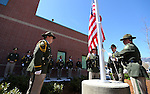 The Carson City Sheriff's Honor Guard raises the American flag during a flag pole dedication ceremony at the Carson City Sheriff's Office in Carson City, Nev., on Wednesday, April 24, 2013. .Photo by Cathleen Allison